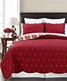 [Paisley Dance] 100% Hypoallergenic cotton 3 piece Reversible Paisley Quilt Set Bedroom Quilt Bedding King Size Red