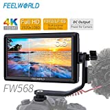 FEELWORLD FW568 DSLR Monitor with 4K HDMI 8.4V DC in/Out, 5.5 Inch IPS On Camera Field Monitor Full HD 1920x1080 Peaking Focus Assist Tilt Arm