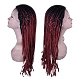 Miss Rola Synthetic Box Braid Lace Front Wigs For Black Women Long Curly Braided Wigs With Natural Hair Line And Baby Hair Heat Resistant Full Hand Made With Free Wig Cap (Burgundy/99J)