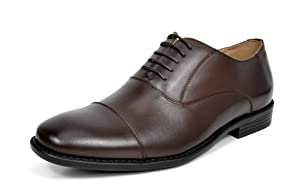 Bruno MARC DP06 Men's Formal Modern Leather Wing Tip Loafers Lace Up Classic Lined Oxford Dress Shoes DARK BROWN SIZE 10