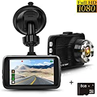 Dash Cam, Full HD 1080P Car Cam DVR Dashboard Camera Recorder 3.0 LTPS Display, Built in G-Sensor, Night Vision, WDR, Loop Recording, Motion Detection, 8GB SD Card Included