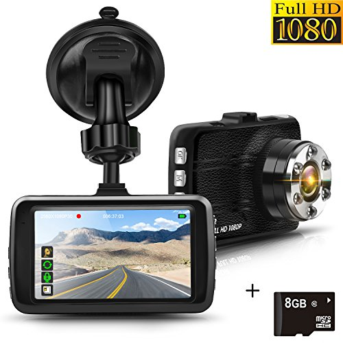 Dash Cam, Full HD 1080P Car Cam DVR Dashboard Camera Recorder 3.0