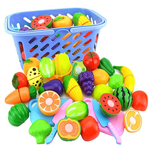 lightclub Fruit Vegetable Food Cutting Set Reusable Role Play Pretend Kitchen Toys for Kids -