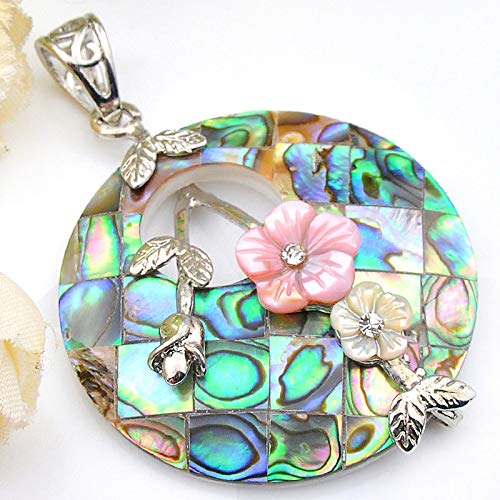 Khongkwan Flower Style Natural Handmade Abalone Shell Carved Shell Silver Necklace Pendant by GIFTWEDDINGJEWELRYSHOP