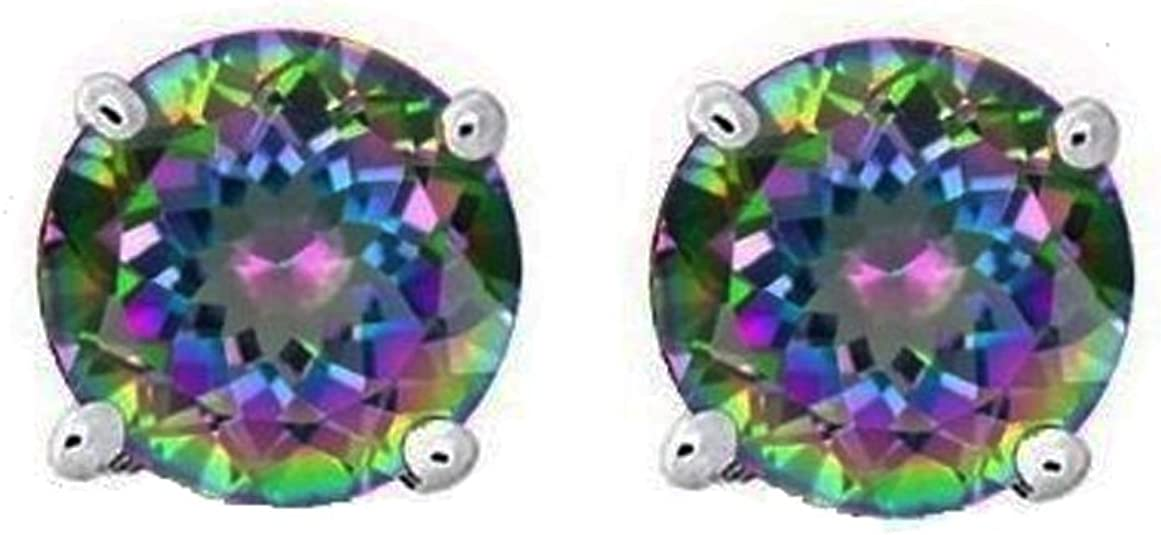 Stud Post Earring Round Rainbow Cubic Zirconia 925 Sterling Silver