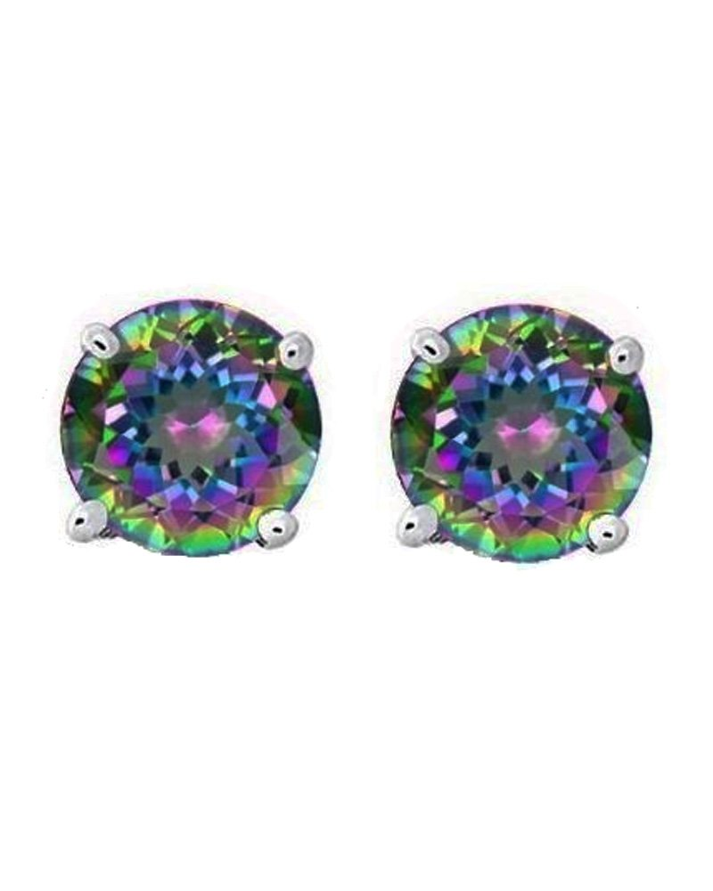 Rainbow Peacock Multi Color Round Cut CZ Basket Set Sterling Silver Stud Earrings 6mm