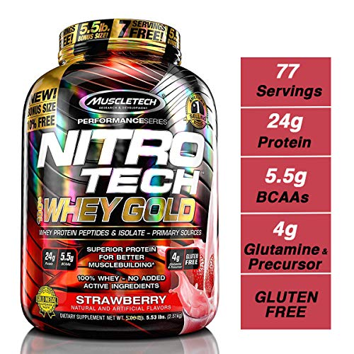 MuscleTech NitroTech Whey Gold, 100% Whey Protein Powder, Whey Isolate and Whey Peptides, Strawberry, 88.48 Ounce ()