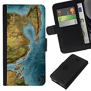 KingStore / Leather Etui en cuir / LG OPTIMUS L90 / Mapa antiguo Continente Mar Océano Gráfico