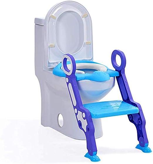 AIBAB Escalera De Baño Auxiliar. Asiento De Inodoro Infantil Escalera De Baño Doblez Estable Cojín Suave Blue: Amazon.es: Hogar