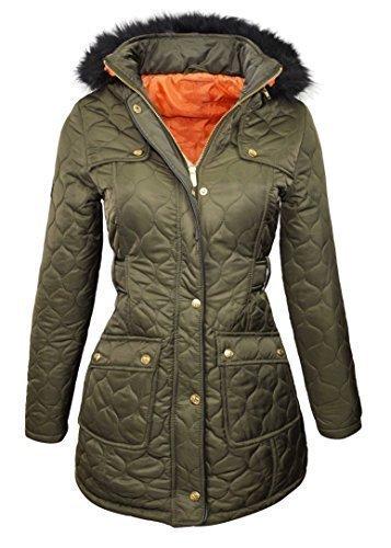 a90c54eb264f2 NEW PADDED Womens Fur HOODED WINTER COAT Ladies long WARM Jacket Size 8-16  Parka