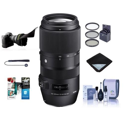 Sigma 100-400mm F5-6.3 DG OS HSM Lens for Canon EOS DSLR Cameras - Bundle with 67mm Filter Kit, Lens Wrap, Flex Lens Shade, Cleaning Kit, Capleash II, Software -