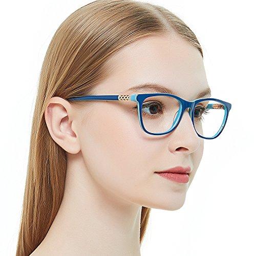 OCCI CHIARI Shining Fashion Acetate Optical Frame Non-Prescription Clear Eyeglasses 50-17-135 (Blue)