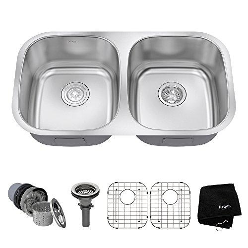 Kraus KBU22 32 inch Undermount 50/50 Double Bowl 16 gauge Stainless Steel Kitchen Sink (Undermount Sink Finish)