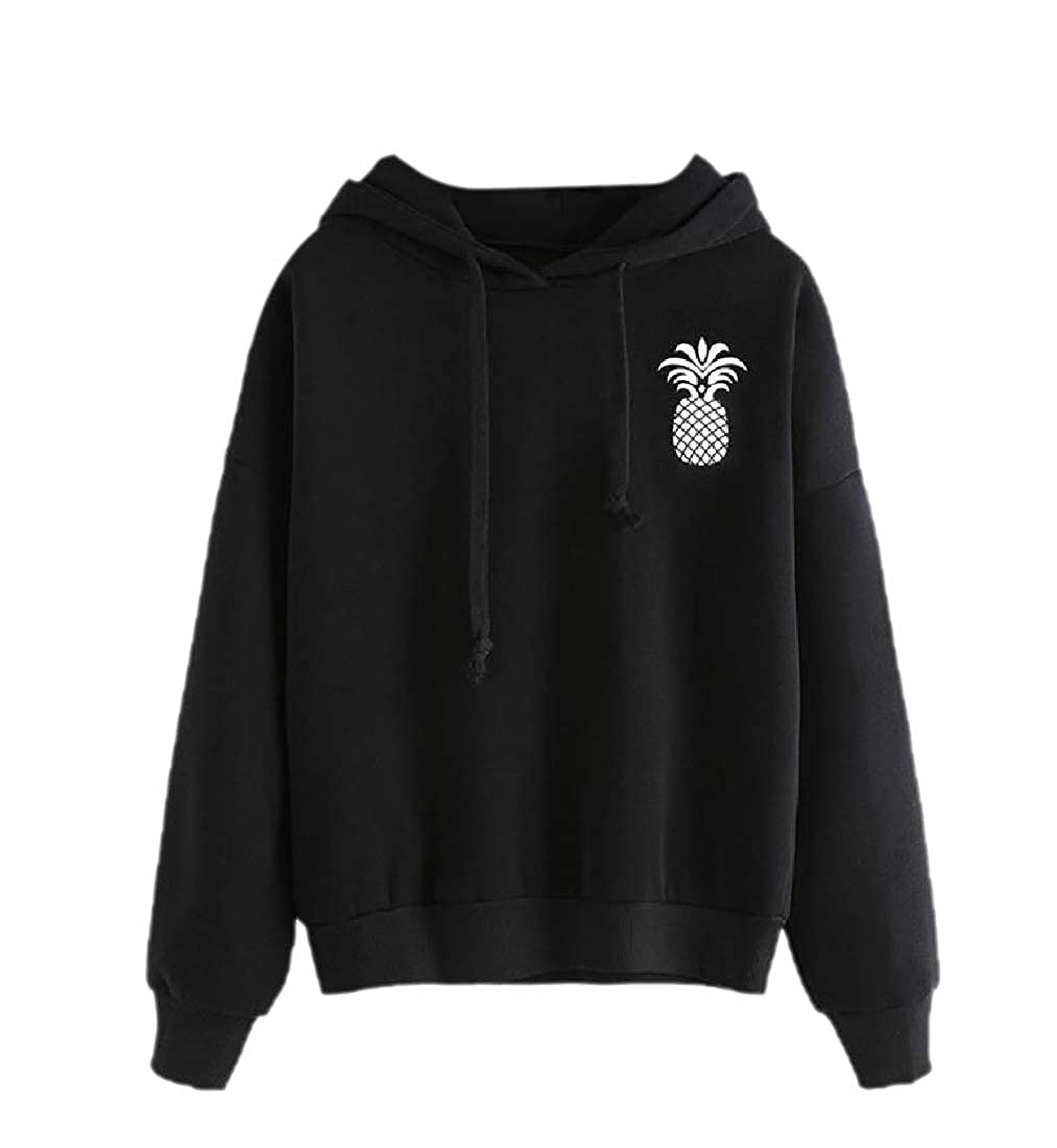 YUNY Womens Pinapple Printed Hooded Pullover Long Sleeve Sweatshirts Black S
