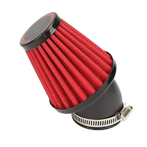 OXMART Motorcycle Air Filter 48mm Universal Air Filters Red with Dual Layer Stainless Steel Mesh Fit for Harley Honda Yamaha Suzuki Kawasaki