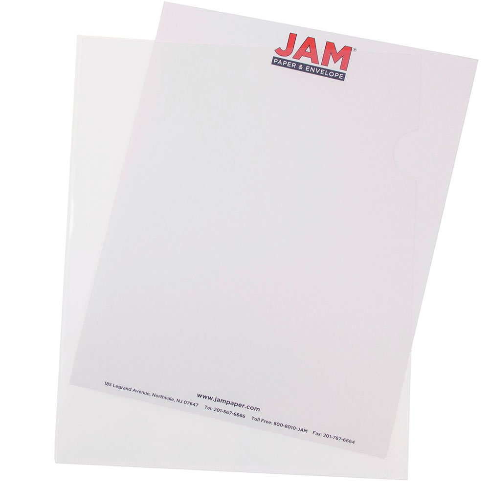 JAM PAPER Plastic Sleeves - Letter Size - 9 x 11 1/2 - Clear Project Pockets - 120 Bulk Page Protectors/Pack