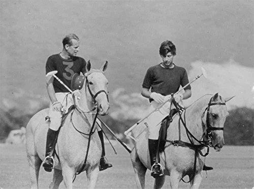 Vintage photo of Subject trip to Jamaica - Prince Philip Duke of Edinburgh with son Prince Charles playing Polo.