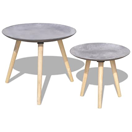 Anself Wooden Round Side Table Coffee Table Set 55 Cm44 Cm Concrete Grey Set Of 2