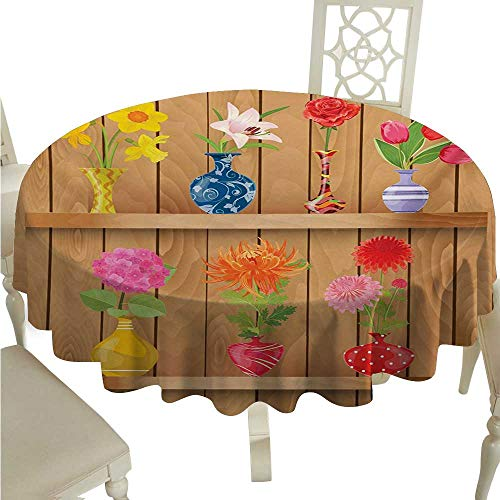 cordiall Daffodil Washable Table Cloth Glass Vases with Colorful Flowers on Wooden Shelves with Pastel Effects Artsy Graphic Waterproof/Oil-Proof/Spill-Proof Tabletop Protector D60 Multi