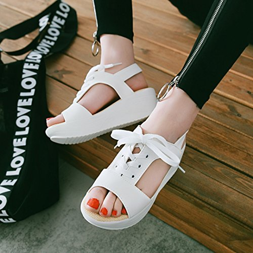 Carolbar Womens Fashion Casual Comfort Peep Toe Lace Up Platform Sandals White W7IWui