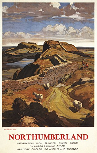 - Northumberland, England - Hadrian's Wall and Sheep British Rail - Vintage Advertisement (24x36 Fine Art Giclee Gallery Print, Home Wall Decor Artwork Poster)