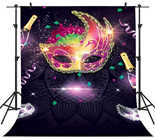 PHMOJEN 5x7ft Backdrop Colorful Mask Champagne Photography Background Masquerade Party Portrait Photography Backdrop Studio Props GYPH176 -