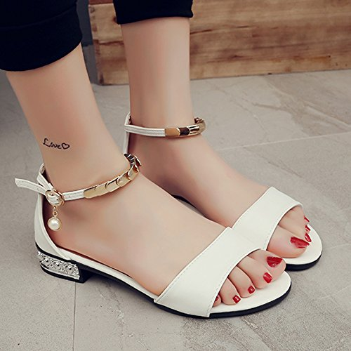 RUGAI-UE Sandalia Mujer Verano Toe Rocío fresca pequeña de fondo plano de zapatos de mujer White