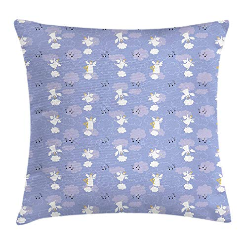 Queolszi Angel Throw Pillow Cushion Cover, Angels Playing Harp in Sky Clouds Magical Love Halo Harmony Innocence, Decorative Square Accent Pillow Case, 22 X 22 Inches, Mauve Purple Grey White -