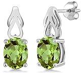 Green Peridot 925 Sterling Silver Earrings 3.60 Ct Oval Gemstone Birthstone
