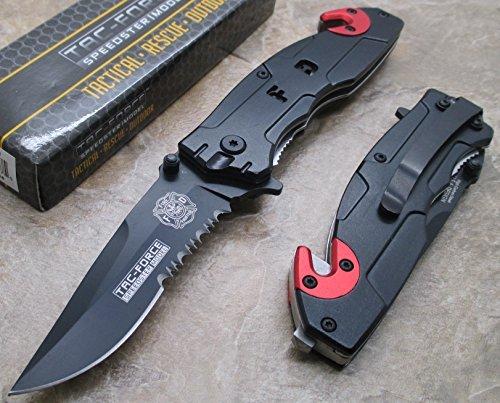 Tac Force F.d Rescue Folder - Fire Dept Half Serrated Black Stainless Steel Blade Knife - Dept Marine