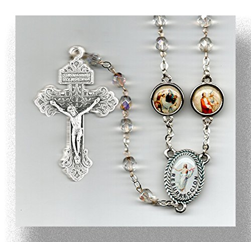 +CRYSTAL STATIONS OF THE CROSS ROSARY 7 x 9mm Crystal Beads with Aurora Borealis and Silver Oxidized Crucifix and 14 Color Enameled Station Medals. 24