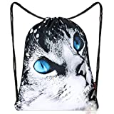 iColor Sackpack Drawstring Gym Bags Nylon Backpacks Teen Dance Bag for Women Girl Boy Yoga Runner Cycling Hiking Team Training Gymsack Daypack (Cute Kitten)