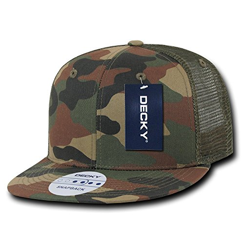 (DECKY 6 Panel Flat Bill Trucker Cap, Camo )