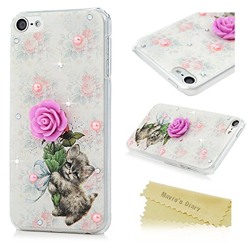 Plastic Case Hard Bling (iPod Touch 6 Case - Mavis's Diary 3D Printed Colorful Hard Plastic Bling Diamonds PC Case Floral Cat Pattern Ultra Thin Slim Fit Anti-Slip Grip Clear Cover for iPod Touch 6th Generation)