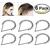 BESTOYARD Hair Hoop Band Black Wavy Metal Hoop Hair Band Unisex Girl Men's Head Band Accessory 6pcs