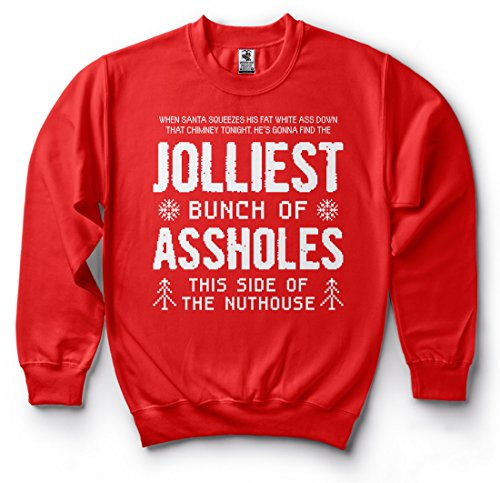 Jolliest Bunch Funny Sweater Christmas Movie Qoute Sweatshirt Griswold Family Vacation Sweater Fleece Large Green (Christmas Best Qoutes)