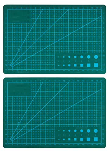Self Healing Cutting Mat - 2-Pack Professional Rotary Cutting Mat, Small and Portable, Single Sided, Durable, Non-Slip, Great for Scrapbooking, Quilting, Sewing, Arts and Crafts, 8.6 x 5.8 Inches by Juvale
