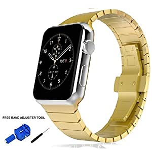 Apple Watch Band 42mm, Stainless Steel Strap Link with Butterfly Clasp Gold by Palestrapro. iWatch Replacement Strap for Series 3,2,1. Classy and Fashionable Choice. (Gold, 42mm)