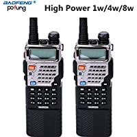 2pcs Baofeng UV-5RE8W 1/4/8Watt Tri-Antenna(Dual Band/VHF/UHF) 3800mAh Extended Battery(USA Warranty) 136-174/400-520MHz Two Way Radio FM Transceiver (2 pcs UV-5RE8W Two Way Radios)