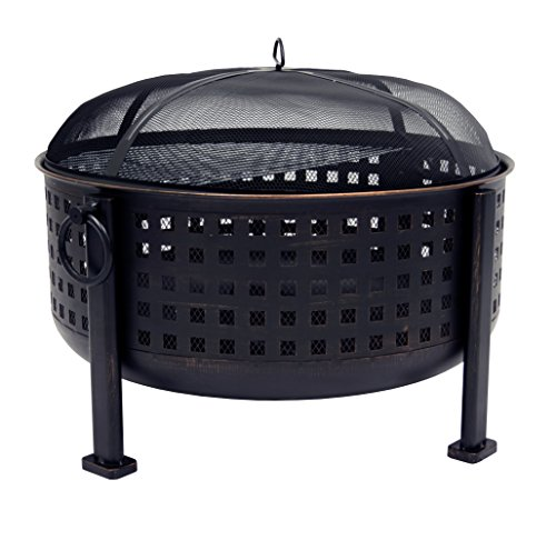 "Pleasant Hearth OFW821RC Langston 12"" Deep Bowl Fire Pit - 30"" round, 12"" deep fire bowl coated with high temperature paint Includes cooking grid for BBQ'ing The built-in Circulair system provides more air flow for bigger flames and a more consistent fire. - patio, fire-pits-outdoor-fireplaces, outdoor-decor - 51 6E5ouNeL -"