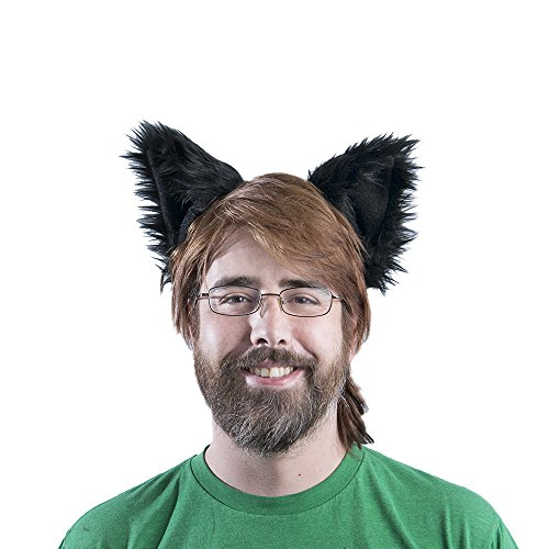 Pawstar Canine Ear Headband Furry Puppy Dog Costume Ears - (Black Dog Costume Ears)