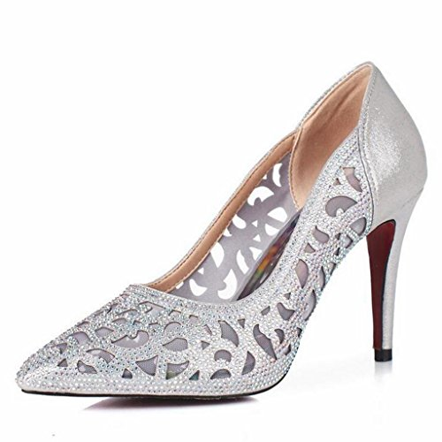 W&LM Hembra Tacones altos piel genuina Piel de carnero Zapatos huecos Ultra Tacones altos Propina Piedras de Strass Respirable Zapatos Brown