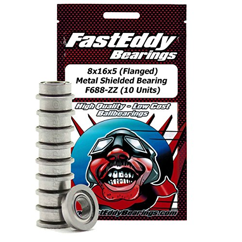 8x16x5 Flanged Metal Shielded Ball Bearings for RC Cars F688-ZZ(10 (Flanged Metal Bushing)