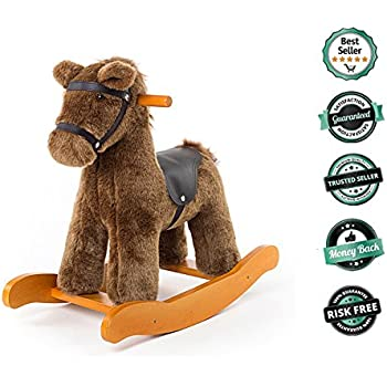 Labebe Child Rocking Horse Toy, Stuffed Animal Rocker Toy, Brown Knight Horse Rocking Plush for Kid 6-36 Months, Wooden Rocking Horse Set/Child Rocking Toy/Outdoor Rocking Horse/Rocker/Animal Ride on