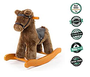 Labebe Child Rocking Horse Toy, Stuffed Animal Rocker Toy, Brown Knight Horse Rocking Plush for Kid 1-3 Years, Wooden Rocking horse Set/Outdoor Rocking Toy/Small Rocking Horse/Modern Rocking Horse
