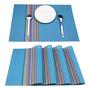 Set Of 4 Placemats, Placemats for Dining Table, Heat-resistant, Stain Resistant PVC Woven Vinyl Table Mats, Kitchen Eat Mats