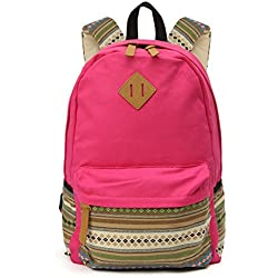 OURBAG Casual Style Lightweight Canvas Backpack School Bag Travel Daypack Rose Medium