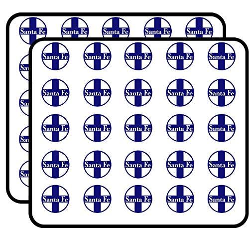 (Round Blue Santa FE Railroad (rr Railway Rail Logo) Sticker for Scrapbooking, Calendars, Arts, Kids DIY Crafts, Album, Bullet Journals)