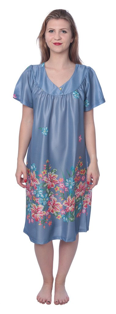 Beverly Rock Women's Short Sleeve Housecoat Floral Duster Nightgown Y18_XU9004 Indigo 2X by Beverly Rock (Image #2)
