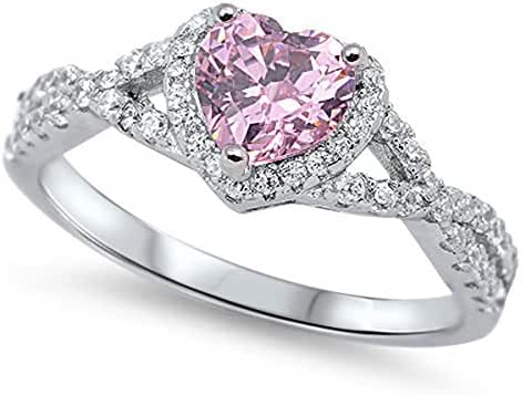 Sterling Silver Women's Pink Cubic Zirconia Micro Pave Heart Ring (Sizes 4-12)